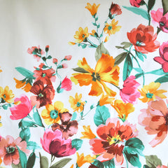 Spring Floral Stretch Cotton Sateen Panel Ivory/Multi - Sold Out - Style Maker Fabrics