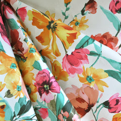 Spring Floral Stretch Cotton Sateen Ivory/Multi - Selvage Yard - Style Maker Fabrics