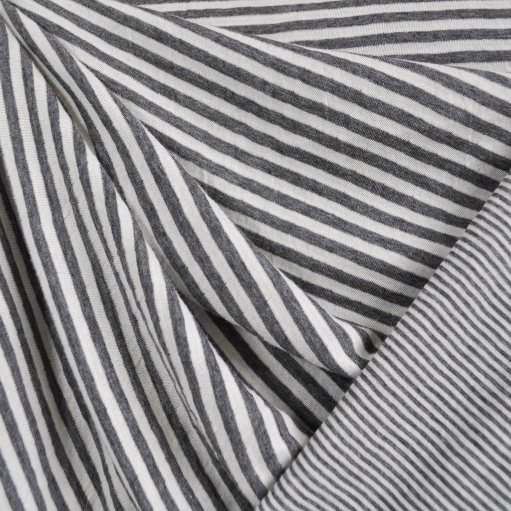 Double Face Jersey Knit Multi Stripe Grey/Ivory - Sold Out - Style Maker Fabrics
