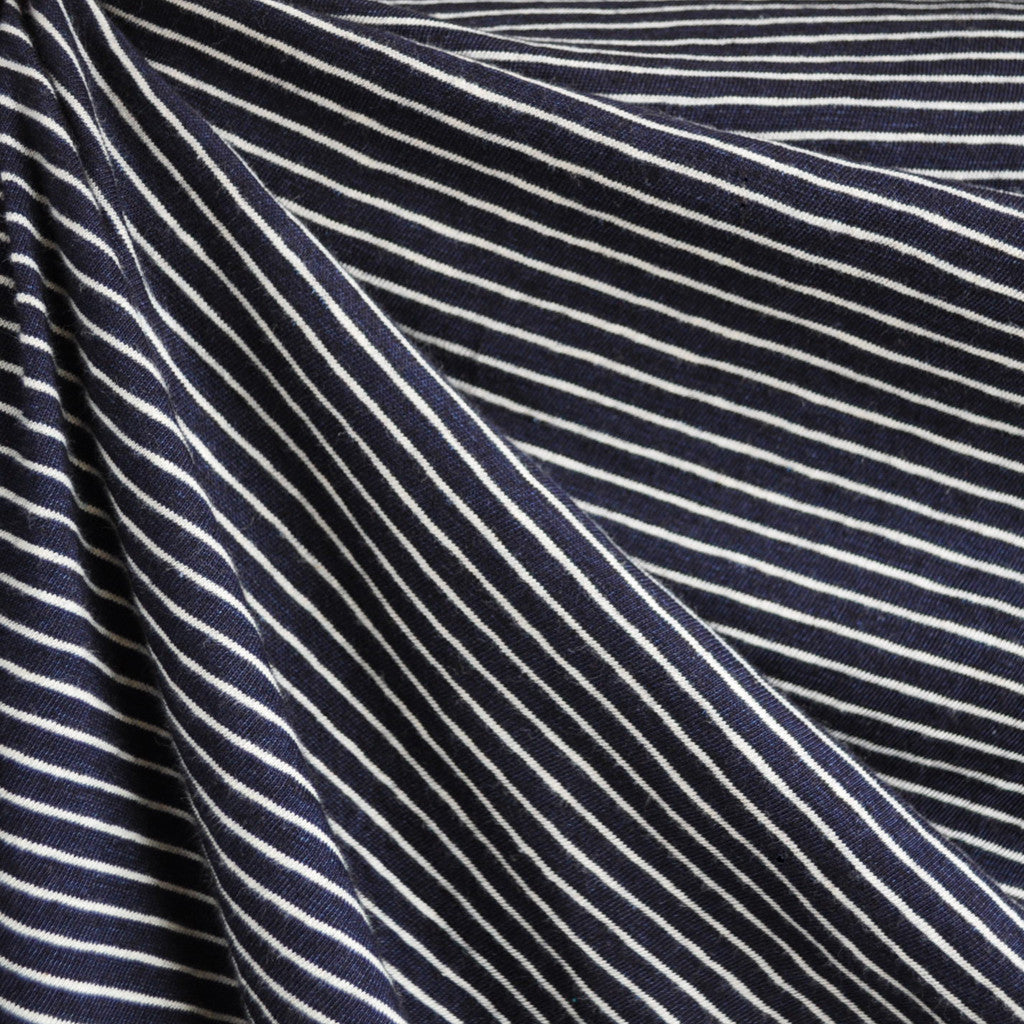 Stripe Jersey Sweater Knit Navy/White SY - Sold Out - Style Maker Fabrics