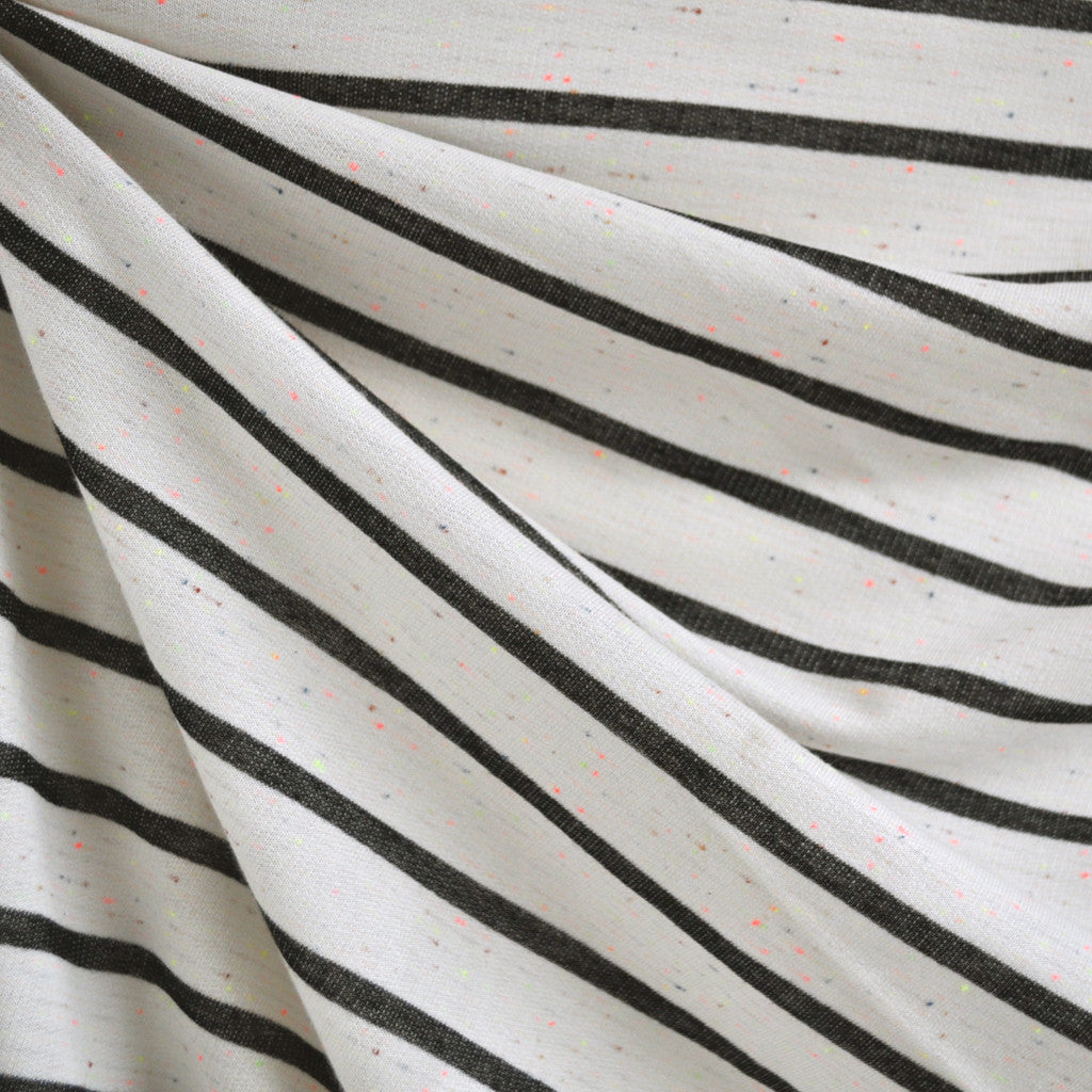 Neon Confetti French Terry Stripe Ivory/Black - Fabric - Style Maker Fabrics