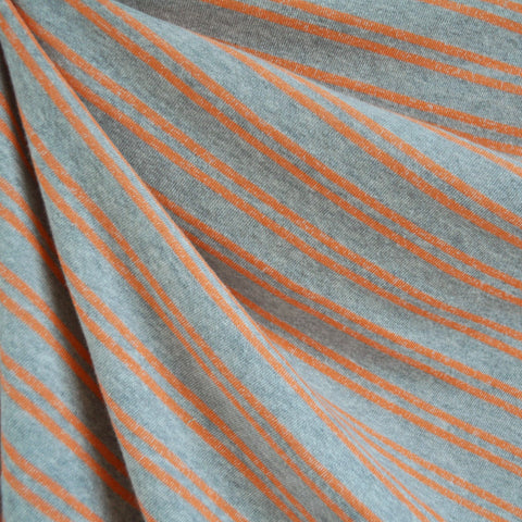 French Terry Double Stripe Grey/Melon