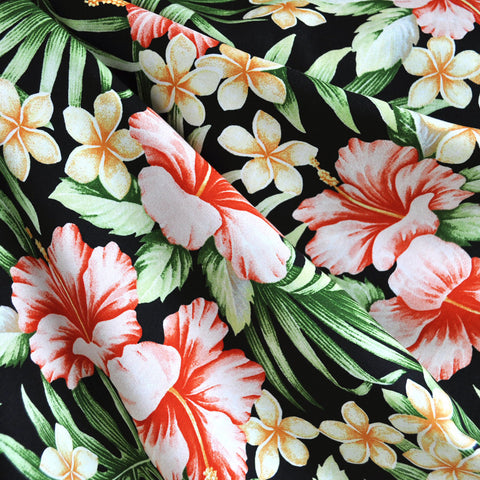 Hawaiian Floral Rayon Shirting Black/Coral