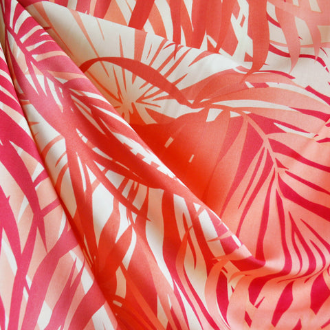 Tropical Leaves Poly Crepe Coral SY