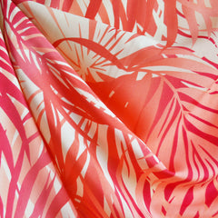 Tropical Leaves Poly Crepe Coral - Fabric - Style Maker Fabrics