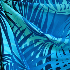 Tropical Leaves Poly Crepe Navy SY - Sold Out - Style Maker Fabrics