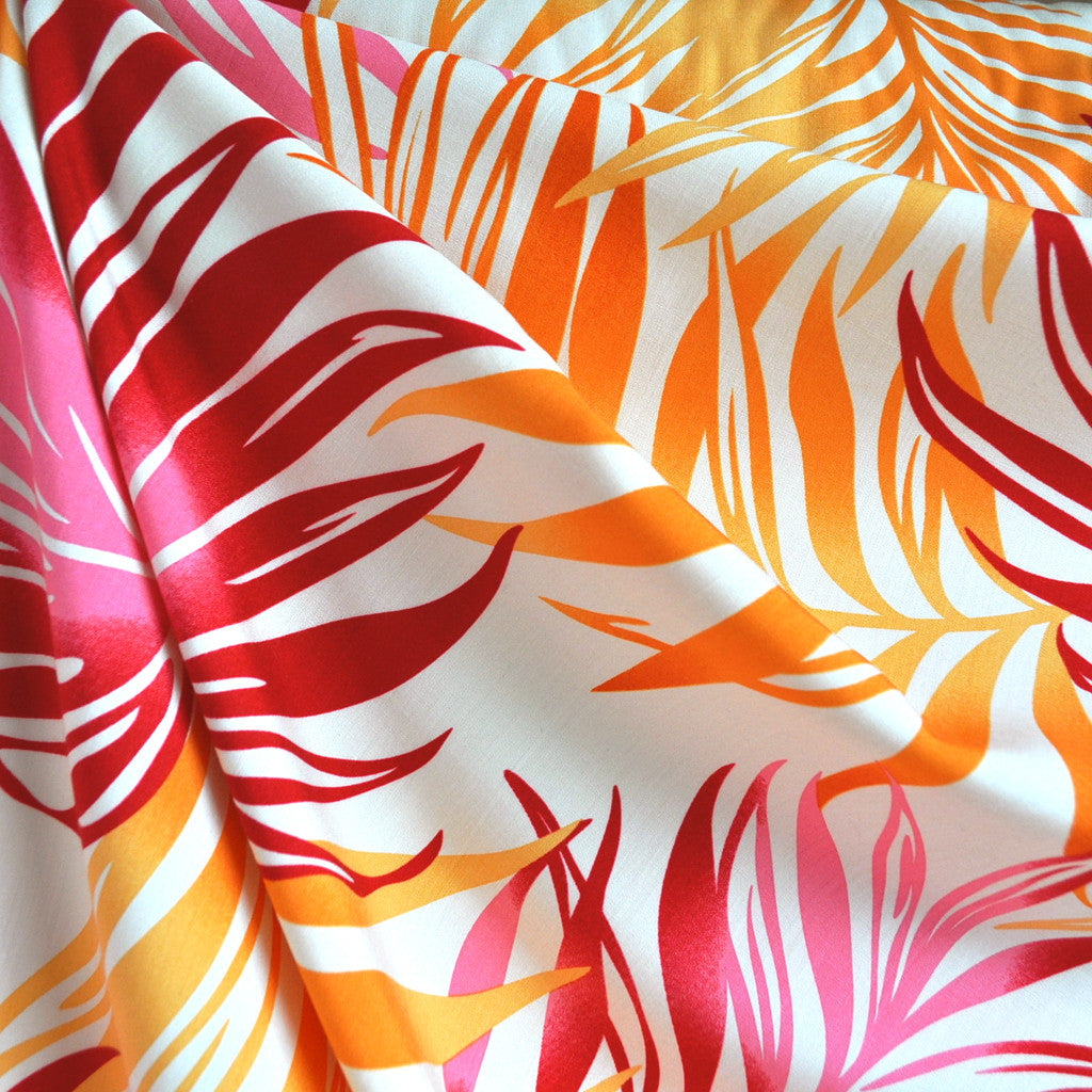 Bright Tropical Leaves Rayon Shirting Pink/Orange SY - Sold Out - Style Maker Fabrics