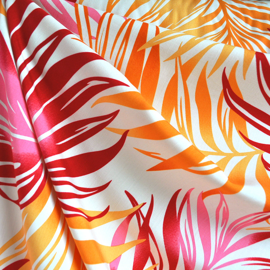 Bright Tropical Leaves Rayon Shirting Pink/Orange - Sold Out - Style Maker Fabrics