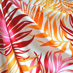 Bright Tropical Leaves Rayon Shirting Pink/Orange - Fabric - Style Maker Fabrics