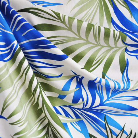 Bright Tropical Leaves Rayon Shirting Blue/Green