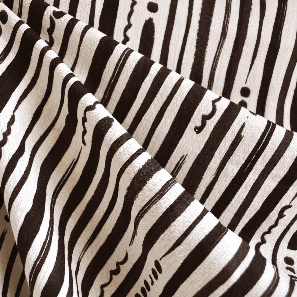 Japanese Crepe Double Gauze Stripe Black/Cream - Sold Out - Style Maker Fabrics