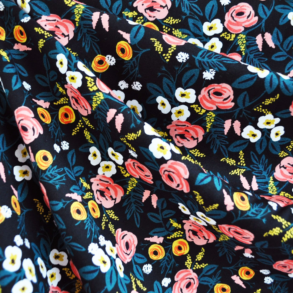 Wonderland Paint Roses Rayon Black - Sold Out - Style Maker Fabrics