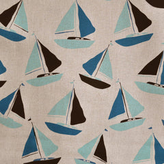 Tidal Wave Linen Blend Sailboats Teal - Sold Out - Style Maker Fabrics