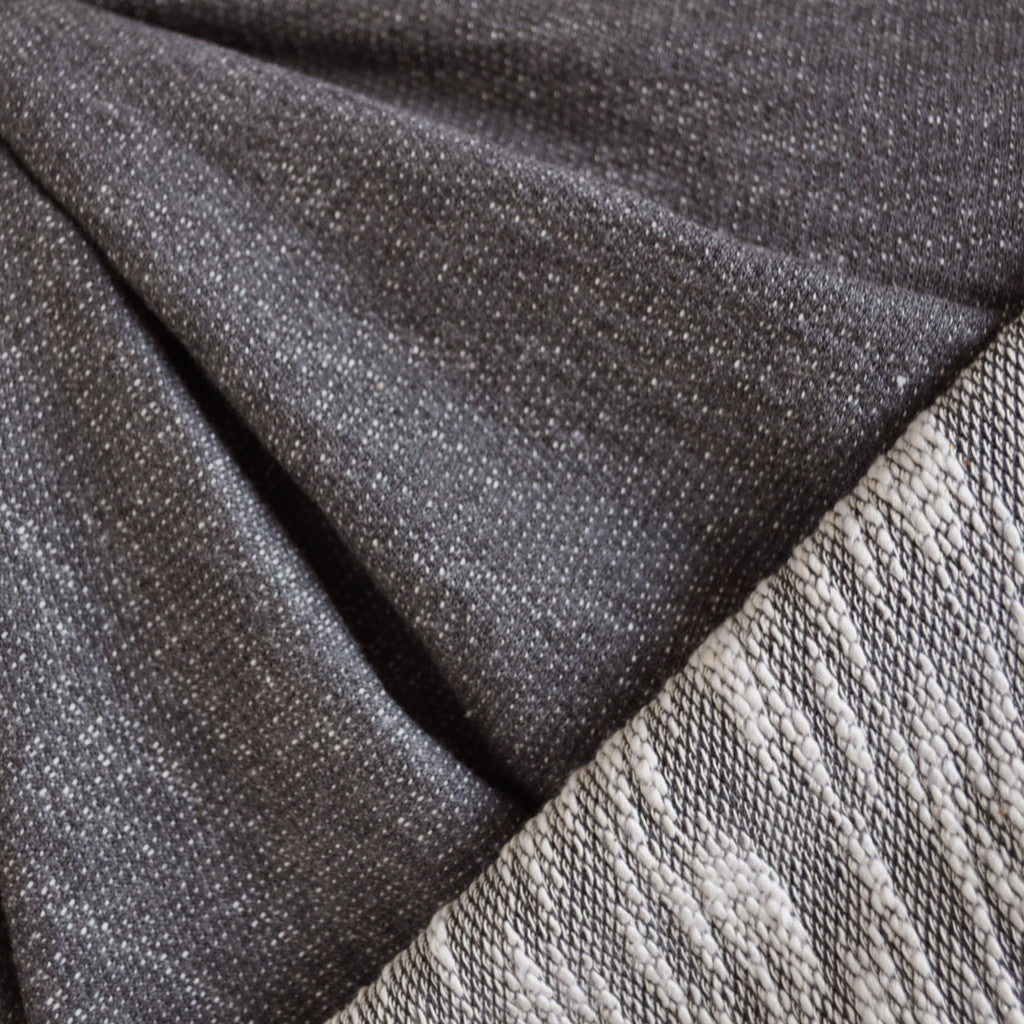 Reversible Textured Double Knit Charcoal/Cream - Sold Out - Style Maker Fabrics