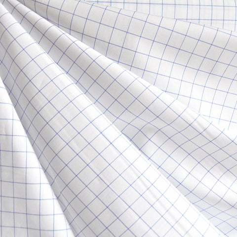 Mini WIndowpane Shirting White/Blue
