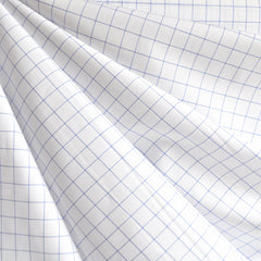 Mini WIndowpane Shirting White/Blue SY - Sold Out - Style Maker Fabrics