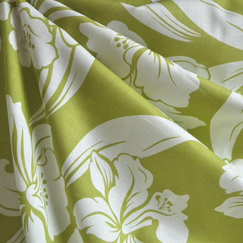Tropical Floral Cotton Lawn Print Pear/White