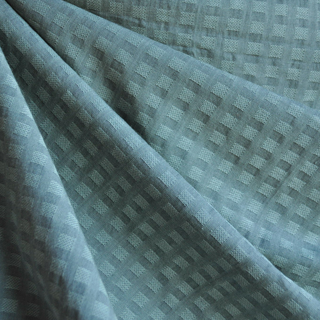 Woven Shirting Plaid Texture Soft Teal—Preorder - Fabric - Style Maker Fabrics
