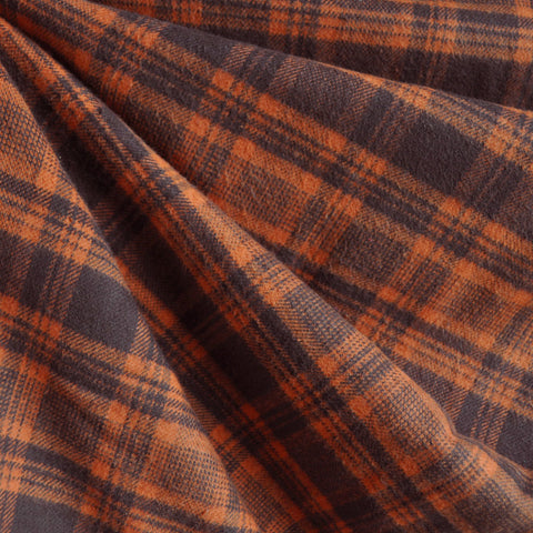 Cozy Cotton Flannel Plaid Pumpkin/Chocolate