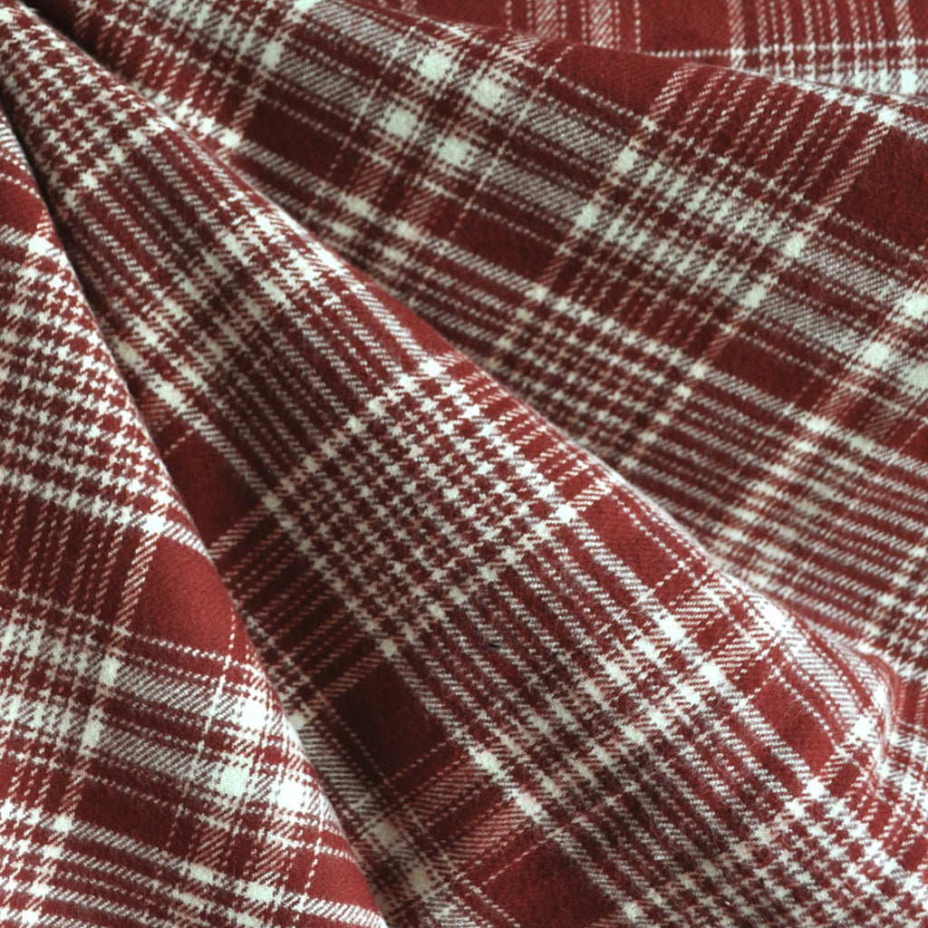Cozy Cotton Flannel Plaid Burgundy/Vanilla SY - Sold Out - Style Maker Fabrics