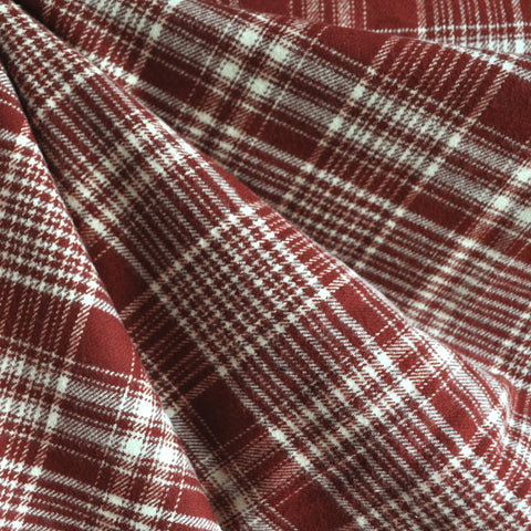 Cozy Cotton Flannel Plaid Burgundy/Vanilla