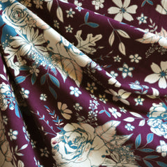 Floral Universe Jersey Knit Plum - Sold Out - Style Maker Fabrics