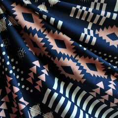 Arizona Tribal Geometric Jersey Knit Navy - Sold Out - Style Maker Fabrics