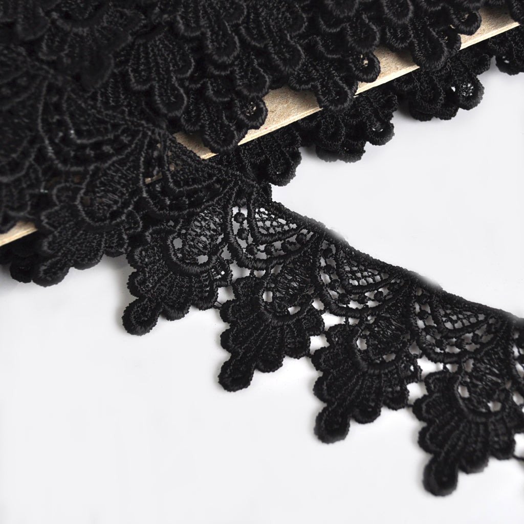 Deco Fan Venise Lace Trim Black 1-3/4 inch - Trim - Style Maker Fabrics