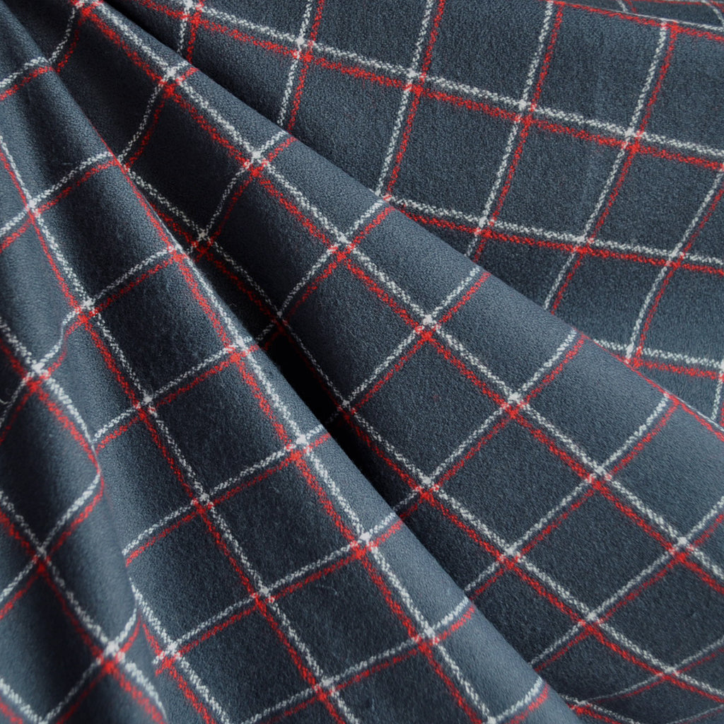 Mammoth Flannel Classic Windowpane Navy/Red - Fabric - Style Maker Fabrics