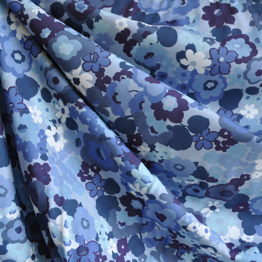 Digital Rayon Lawn Print Floral Blues - Fabric - Style Maker Fabrics