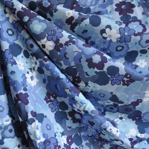 Digital Rayon Lawn Print Floral Blues