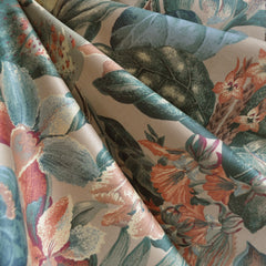 Tropical Floral Cotton Sateen Natural/Coral - Sold Out - Style Maker Fabrics