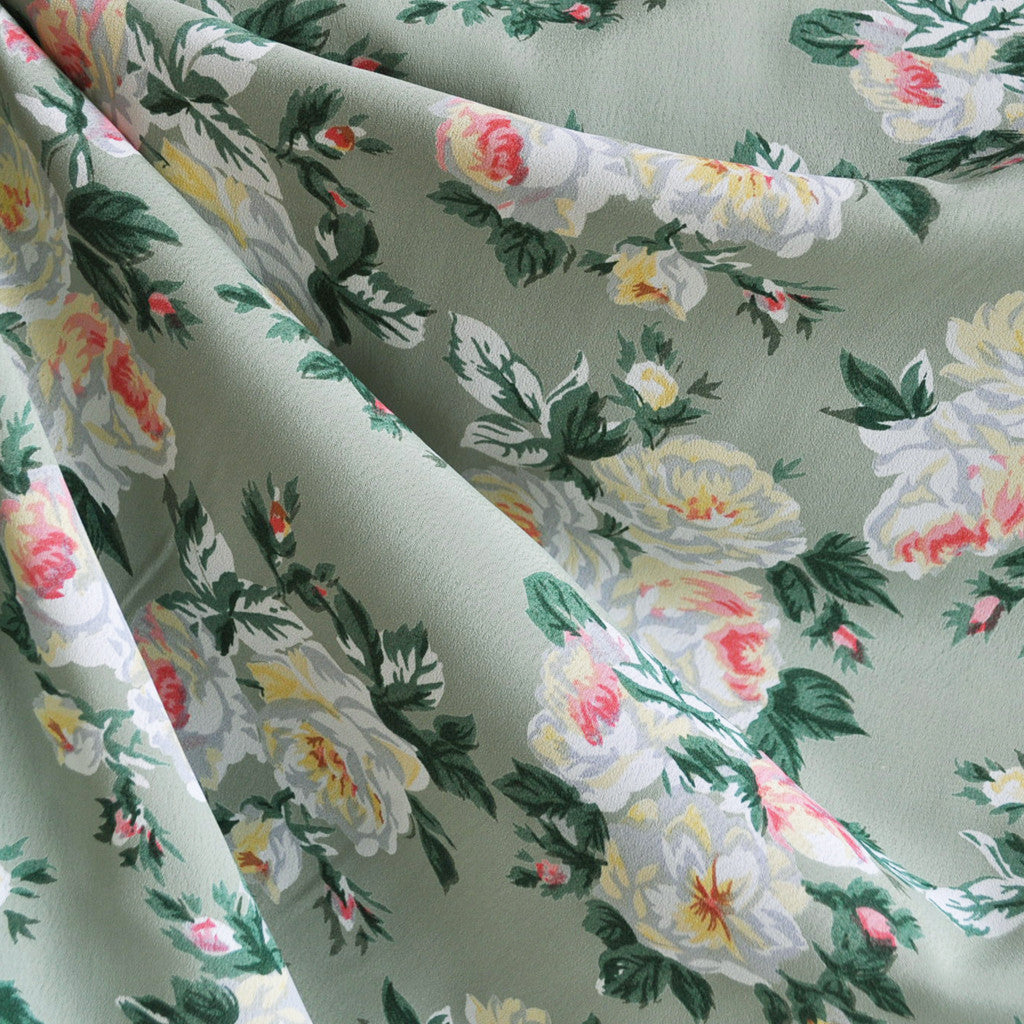 Rose Floral Rayon Crepe Sage - Sold Out - Style Maker Fabrics