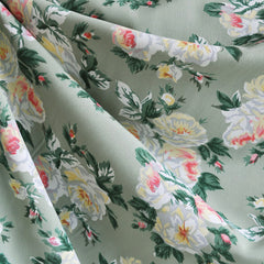 Rose Floral Rayon Crepe Sage - Fabric - Style Maker Fabrics