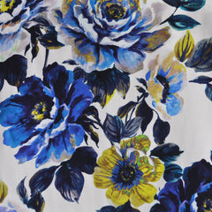 Twilight Floral Rayon Crepe Cream/Blue - Sold Out - Style Maker Fabrics
