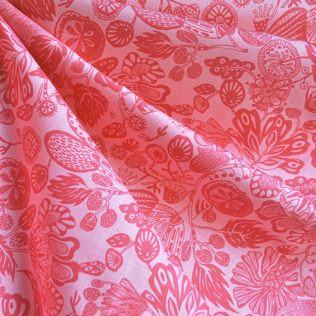 Watercolor Woodcut Tonal Cotton Coral - Sold Out - Style Maker Fabrics