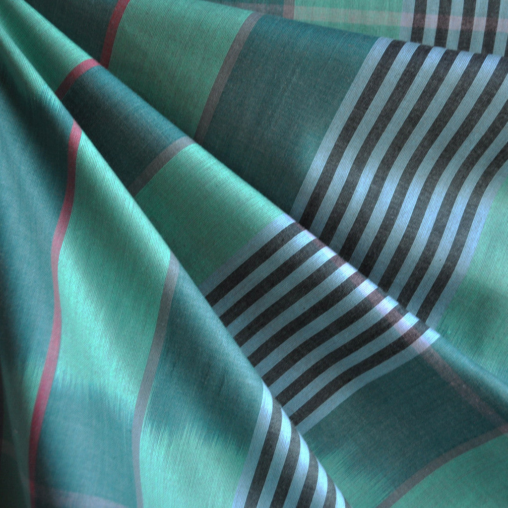 Loominous Shirting Ikat Stripe Pine - Fabric - Style Maker Fabrics
