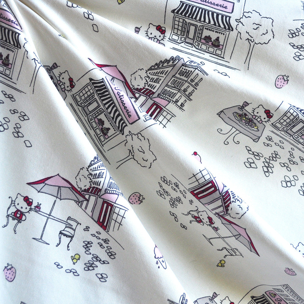 BedHead Hello Kitty Caffe Jersey Knit Cream - Sold Out - Style Maker Fabrics