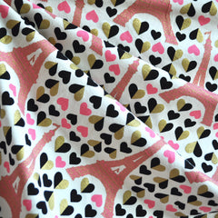 BedHead Eiffel Hearts Jersey Knit Cream/Pink - Sold Out - Style Maker Fabrics