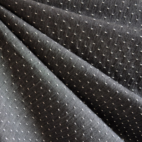 Cotton Chambray Dot Shirting Black
