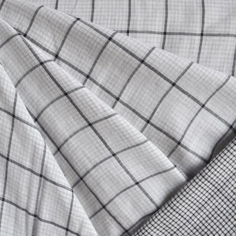 Reversible Double Gauze Check Shirting White/Black