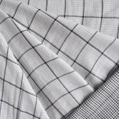 Reversible Double Gauze Check Shirting White/Black SY - Sold Out - Style Maker Fabrics