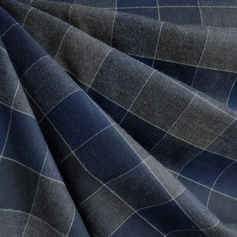 Large Plaid Check Flannel Navy/Chocolate
