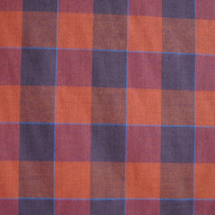 Large Plaid Check Shirting Rust/Plum - Sold Out - Style Maker Fabrics
