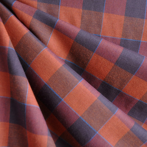 Large Plaid Check Shirting Rust/Plum