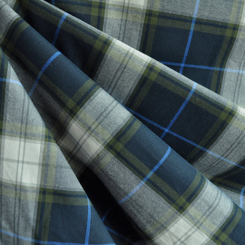 Tartan Plaid Shirting Navy/Olive SY