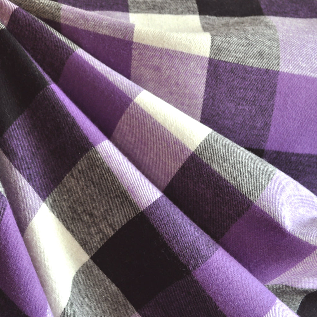 Box Plaid Flannel Shirting Purple - Sold Out - Style Maker Fabrics