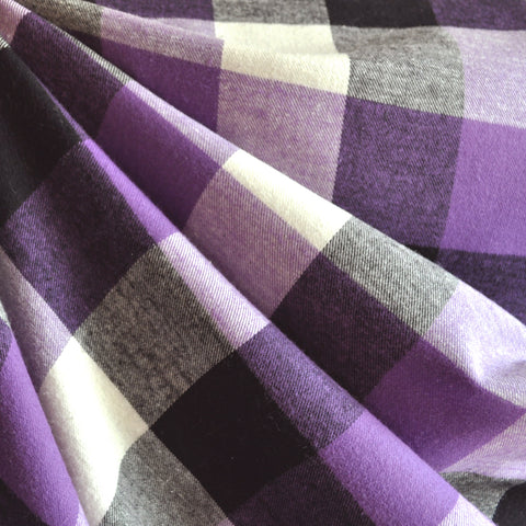 Box Plaid Flannel Shirting Purple
