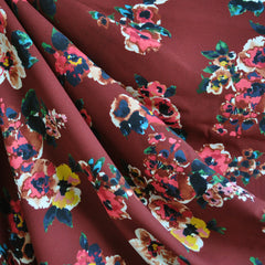 Harvest Floral Rayon Crepe Burgundy - Sold Out - Style Maker Fabrics