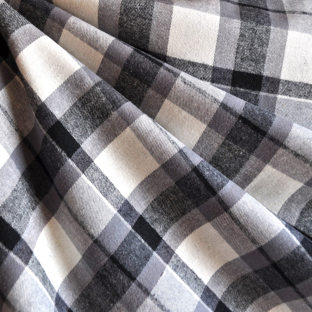 Plaid Flannel Shirting Grey/Cream - Fabric - Style Maker Fabrics